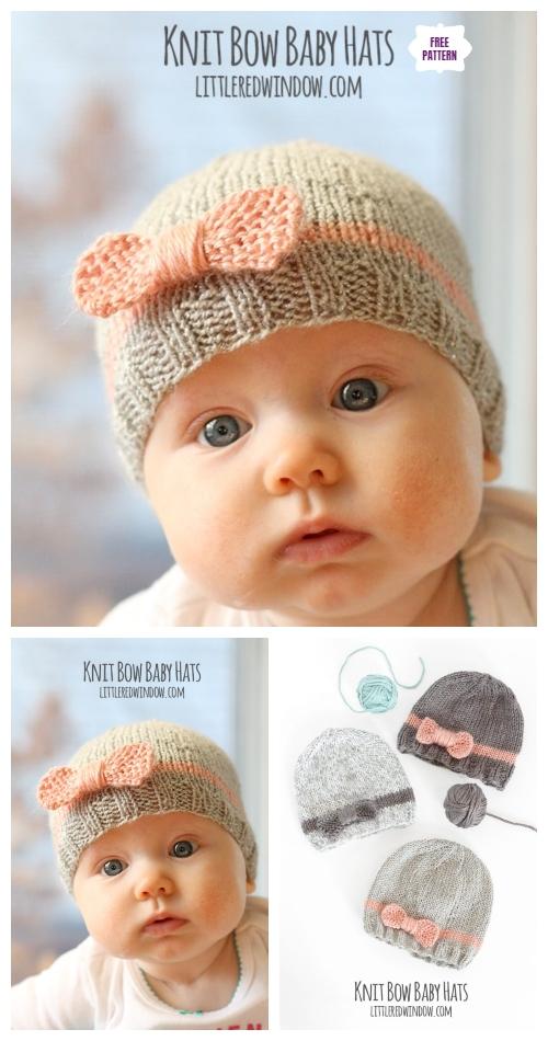 Knit Bow Baby Beanie Hat Free Knitting Pattern