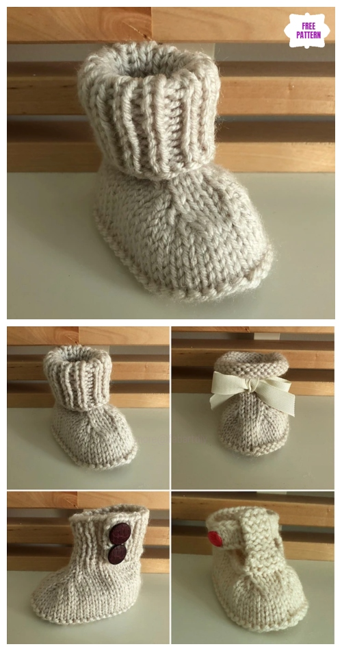 Knit Seamless Baby Booties Free Knitting Pattern