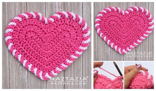 Valentine Crochet Heart Dishcloth Free Crochet Patterns