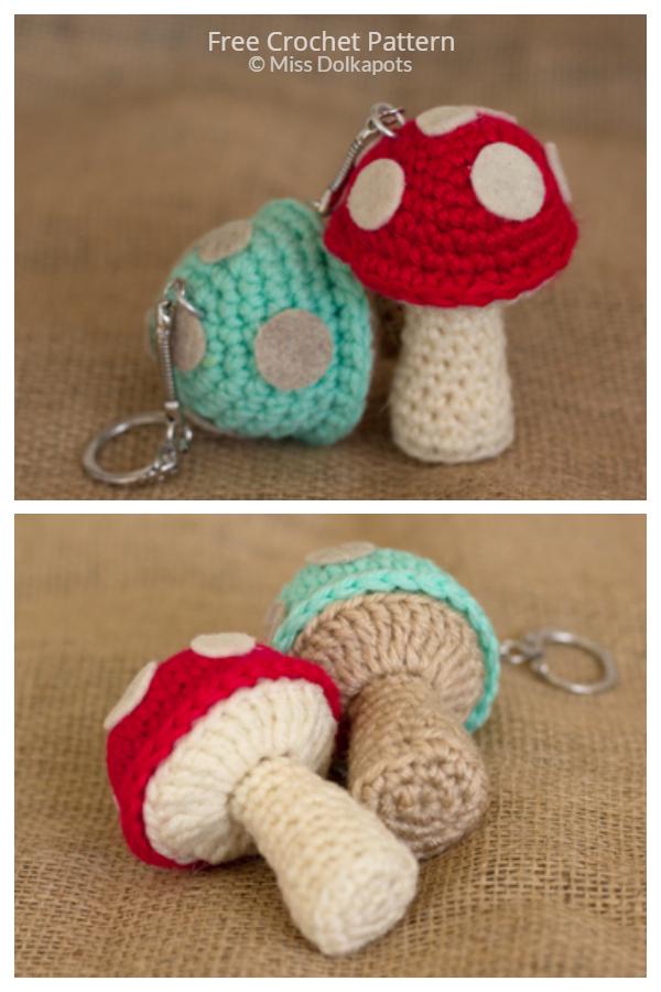 Crochet Mushroom Keychain Amigurumi Free Pattern