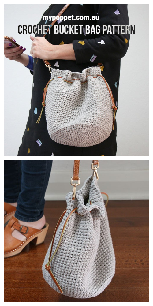 Easy Drawstring Bucket Bag Free Crochet Pattern
