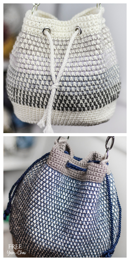 Mosaic Bucket Bag Free Crochet Pattern