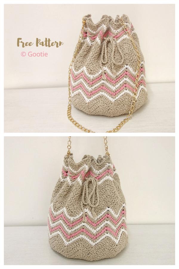 Easy Chevron Bucket Bag Free Crochet Patterns