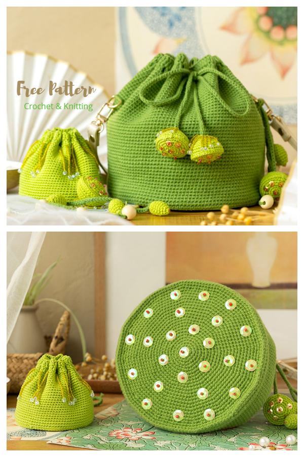 Easy Lotus Bucket Bag Free Crochet Patterns