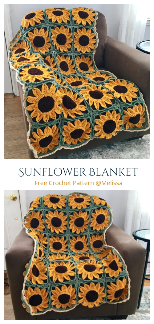 Sunflower Granny Square Blanket Free Crochet Patterns