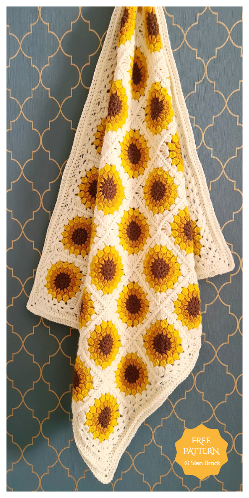 Sunflower Bloom Blanket Free Crochet Patterns