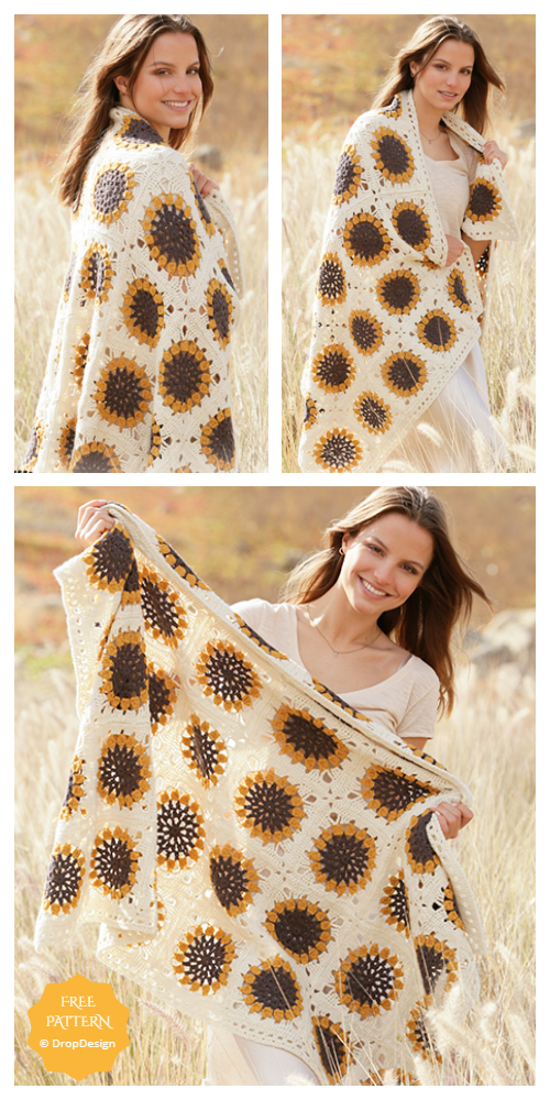 Sunflower Blanket Free Crochet Patterns