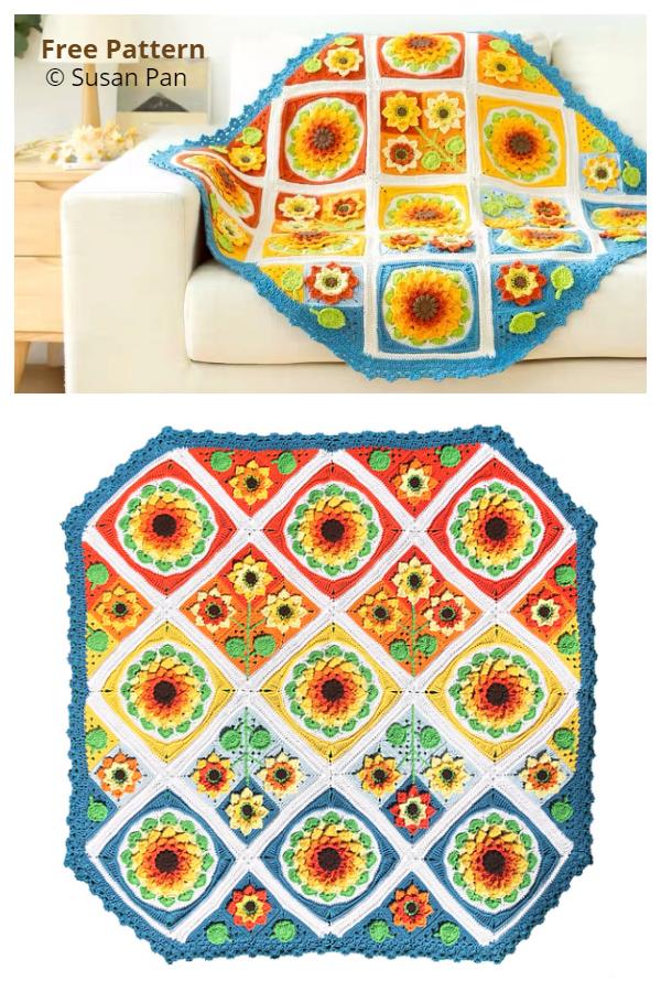 Sunflower Blanket CAL Free Crochet Patterns