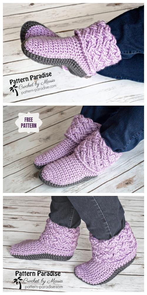Celtic Weave Slippers Free Crochet Pattern