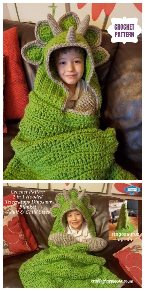 Cool Hooded Dinosaur Blanket Crochet Pattern