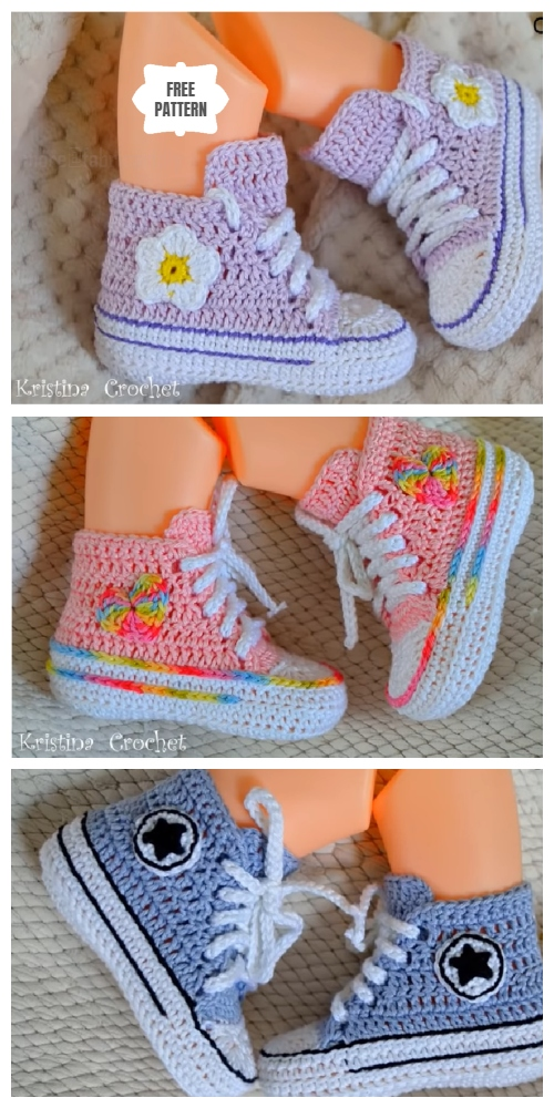 Crochet Baby Converse Booties Free Crochet Pattern + Video
