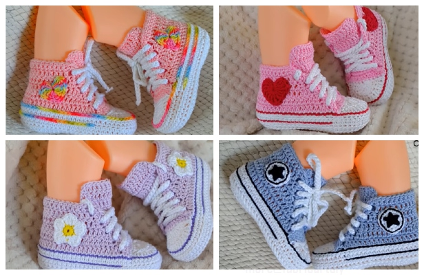 Crochet Baby Converse Booties Free