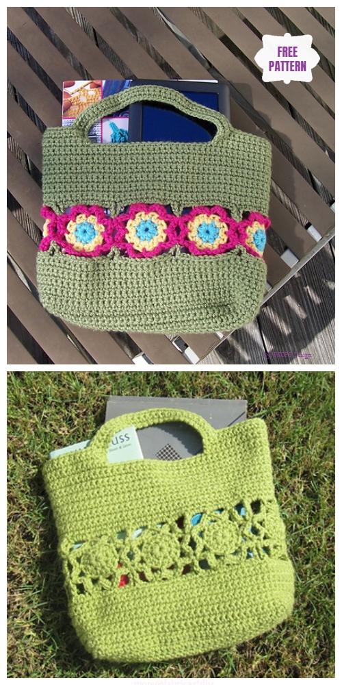 Crochet Flower Burst Handbag Free Crochet Pattern