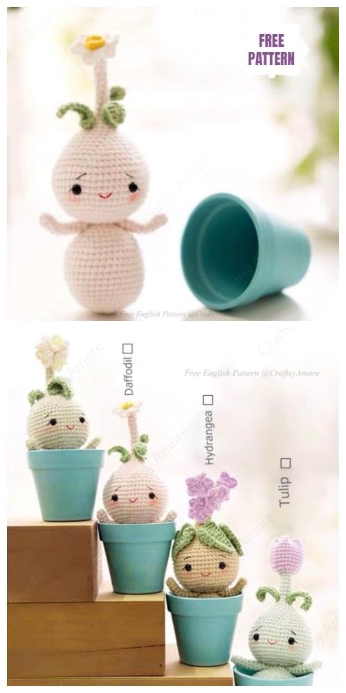 Crochet Flower Bulb Doll Amigurumi Free Pattern