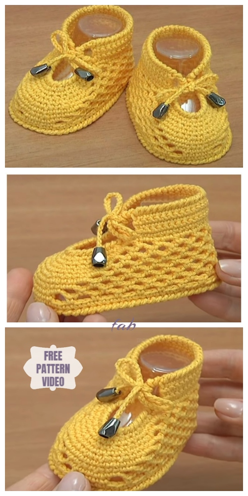 Crochet Summer Baby Booties Free Crochet Pattern - Video