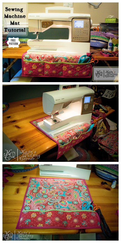 DIY Sewing Machine Mat with Pockets Free Sewing Pattern