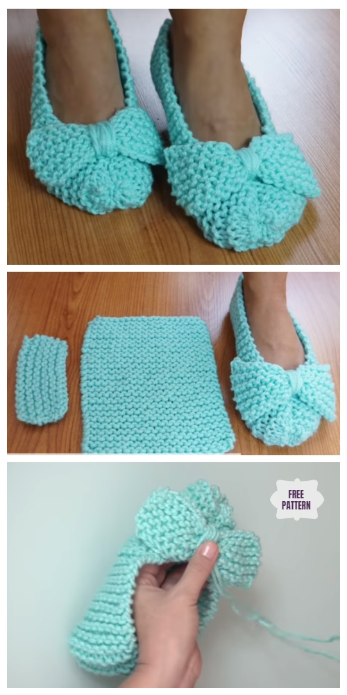 Easiest Ballet Flat House Slippers from Square Free Knitting Pattern - Video