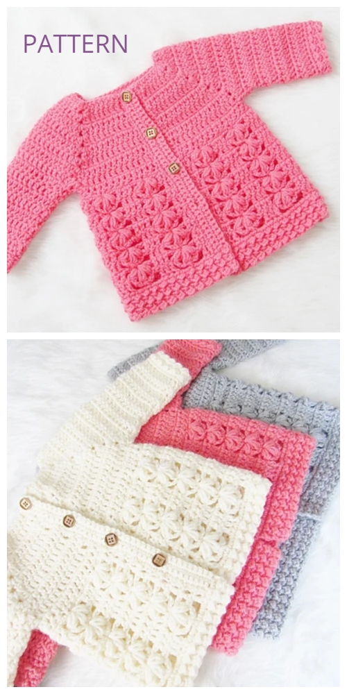 Evelyn Baby Sweater Cardigan Crochet Pattern
