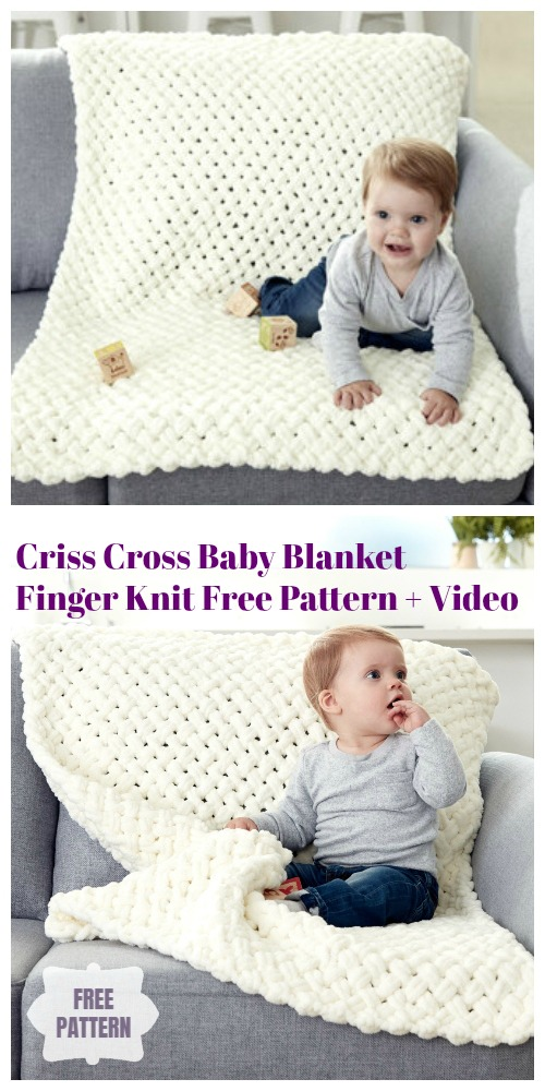 Finger Knit Criss Cross Baby Blanket Free Knitting Pattern - Video