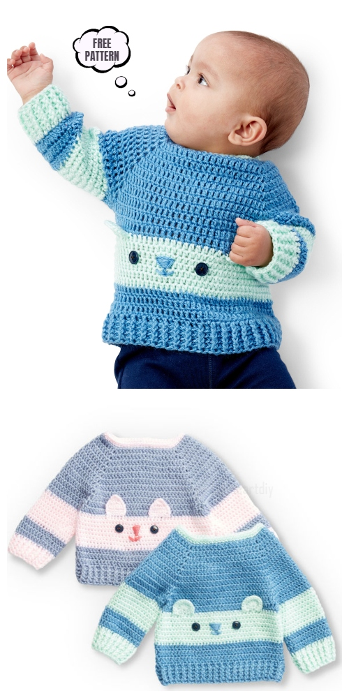 Kitty Baby Sweater Free Crochet Pattern +Video