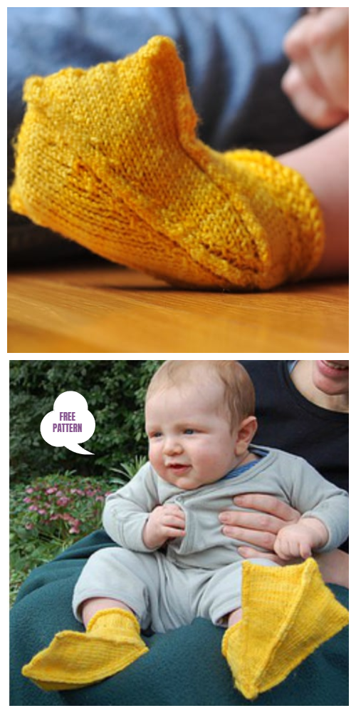 Knit Duck Baby Booties Free Knitting Pattern