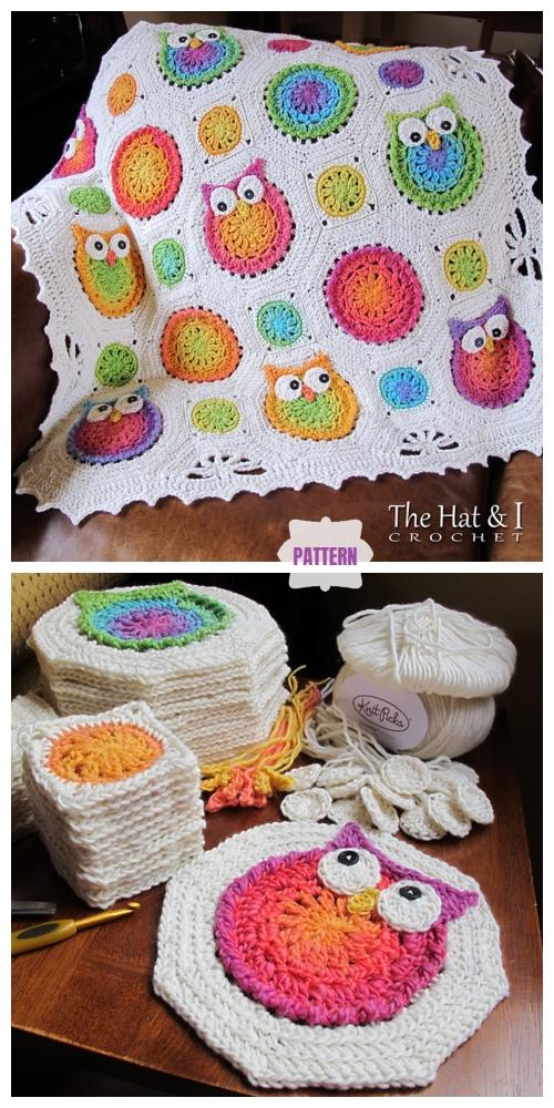 Owl Granny Square Blanket Crochet Pattern