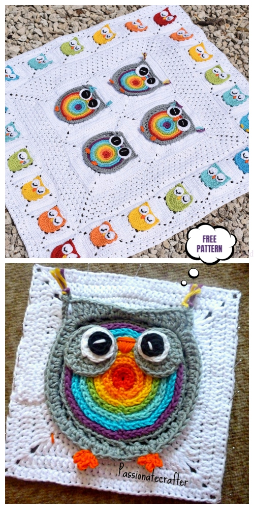 Owl Granny Square Blanket Free Crochet Pattern