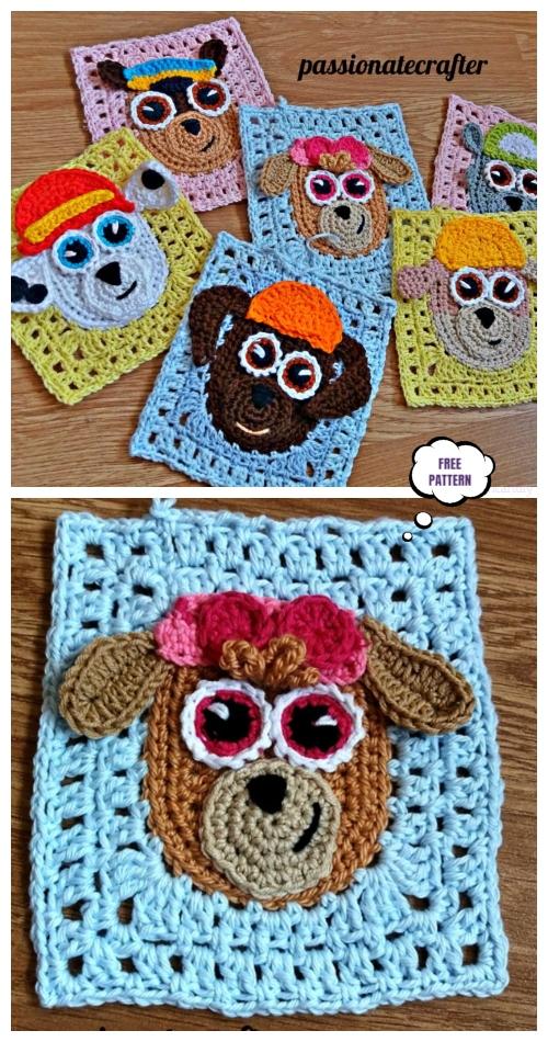 Paw Patrol Puppy Granny Square Blanket Free Crochet Pattern
