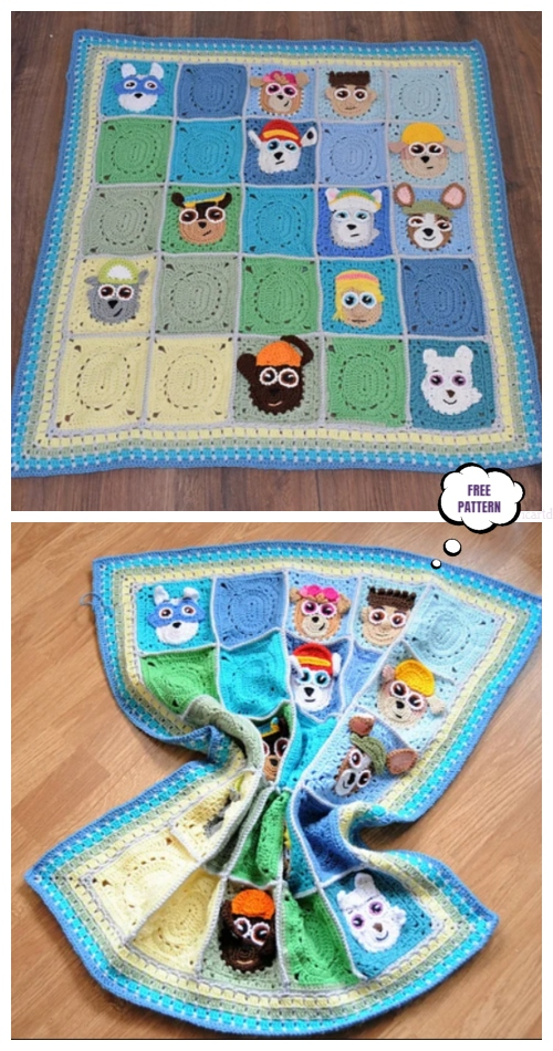 Paw Patrol Puppy Granny Square Blanket Free Crochet Pattern
