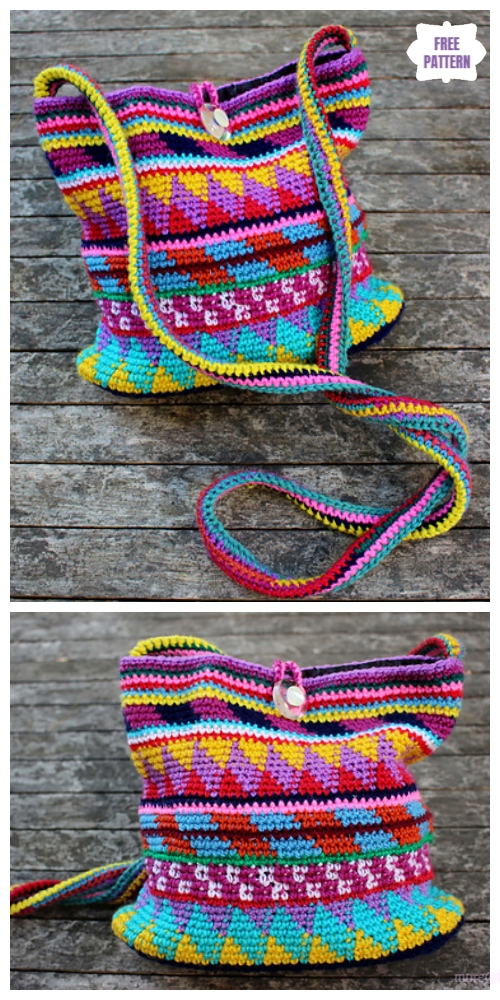 Scrap Yarn Rainbow Maya Purse Free Crochet Pattern
