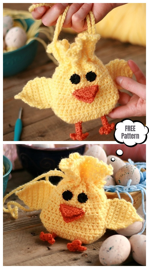 Easter Chick Drawstring Bag  Free Crochet Pattern