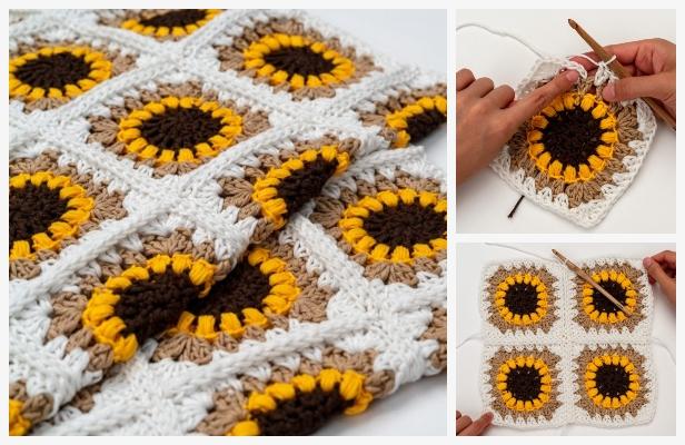 Sunflower Granny Square Blanket Free Crochet Patterns