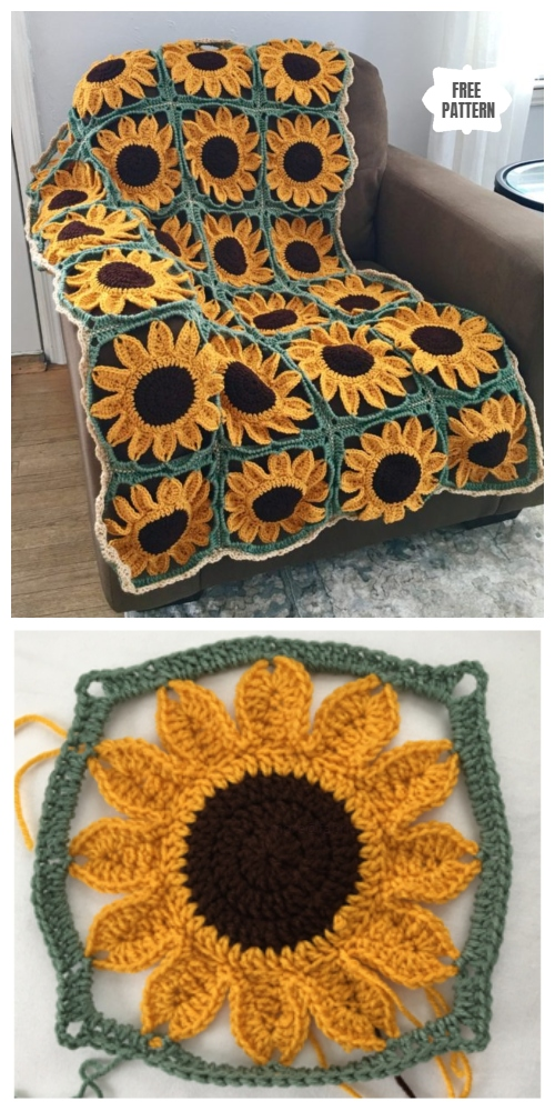 Sunflower Granny Square Blanket Free Crochet Patterns Diy Magazine