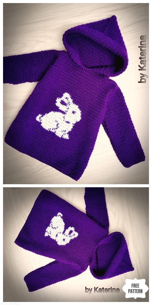 Crochet Toddler Bunny Hoodie Sweater Free Crochet Pattern