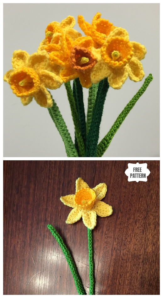 Spring Daffodil Flower Free Crochet Patterns - Crochet Daffodils Free Pattern