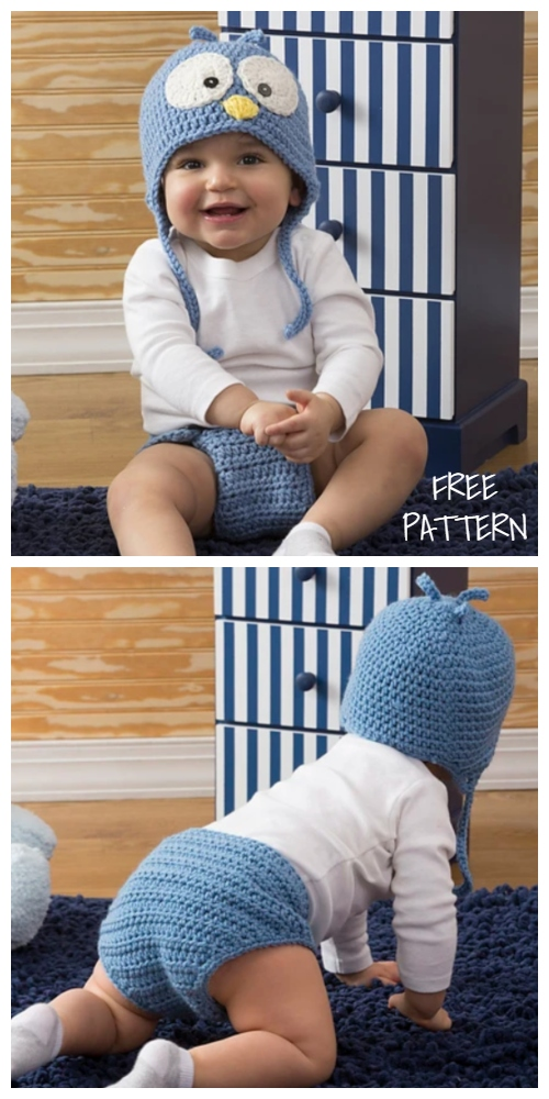 Spring Baby Cutie Blue Bird Hat & Diaper Cover Set Free Crochet Patterns