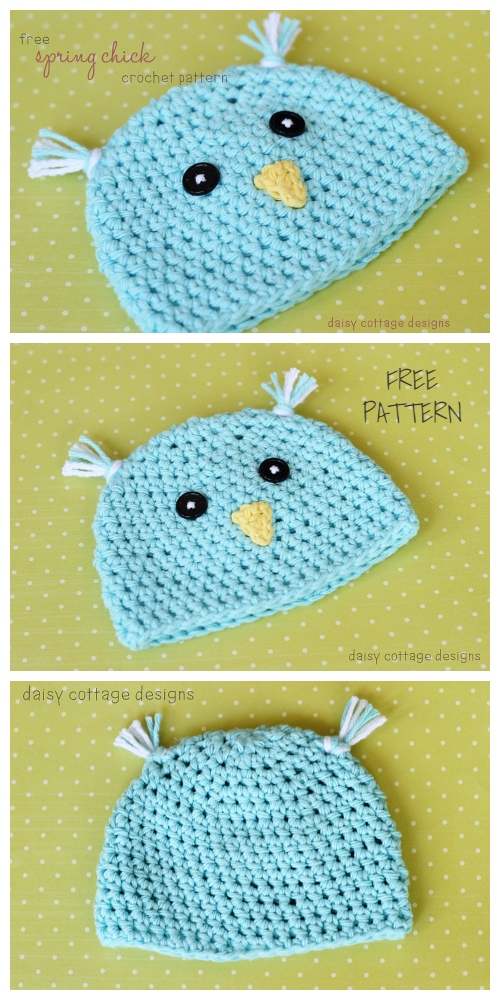 Spring Baby Bird Beanie Hat Free Crochet Patterns
