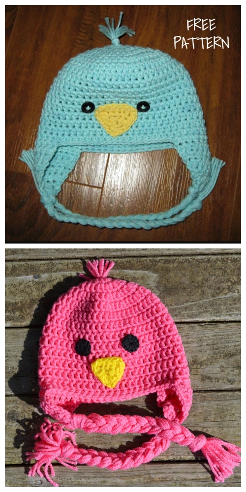 Spring Baby Bird Beanie Earflap Hat Free Crochet Patterns
