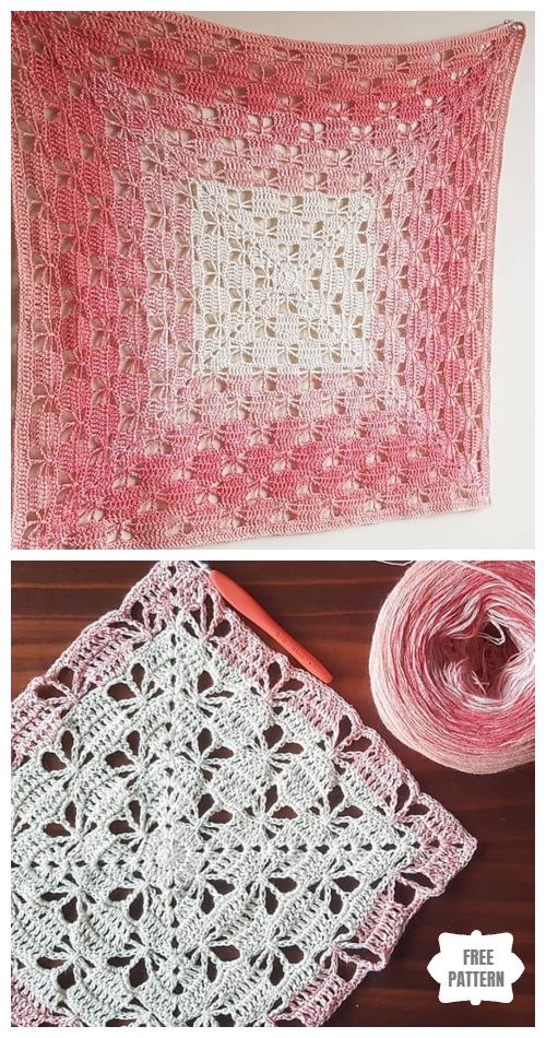 Butterfly Garden Square Afghan block Blanket Free Crochet Pattern