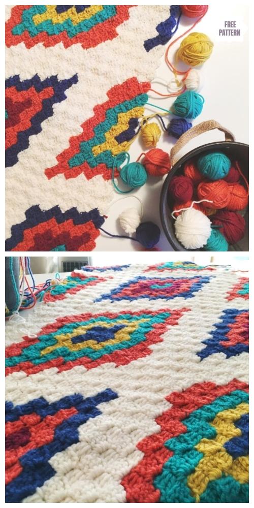 C2C Southwestern Style Graphghan Blanket Free Crochet Pattern