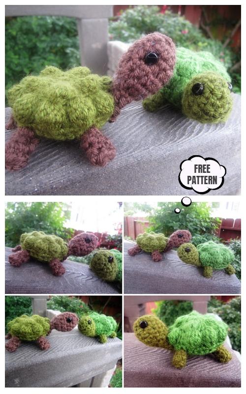 Crochet Bobble Stitch Turtle Amigurumi Free Patterns