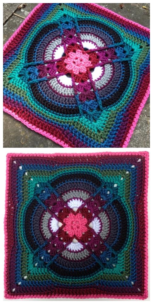 Crochet Denna Afghan Block Square Free Crochet Pattern