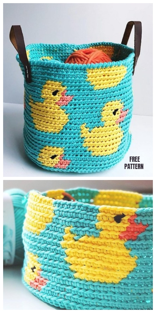 Tapestry Crochet Rubber Ducky Basket Free Crochet Pattern