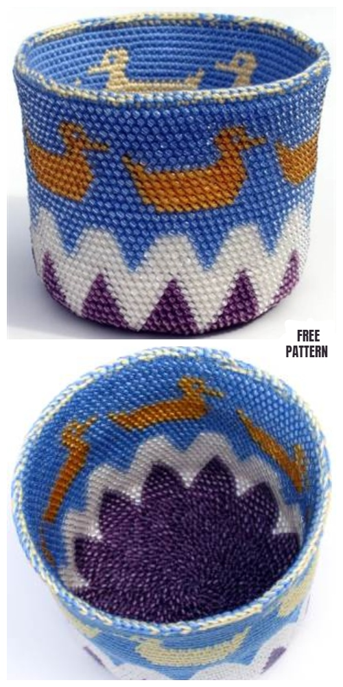 C2C Crochet Rubber Ducky Basket Free Crochet Pattern
