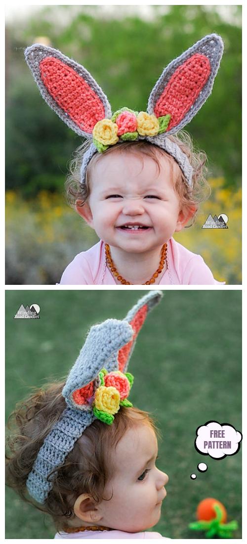Crochet Baby Easter Bunny Headband with Flower Free Crochet Pattern