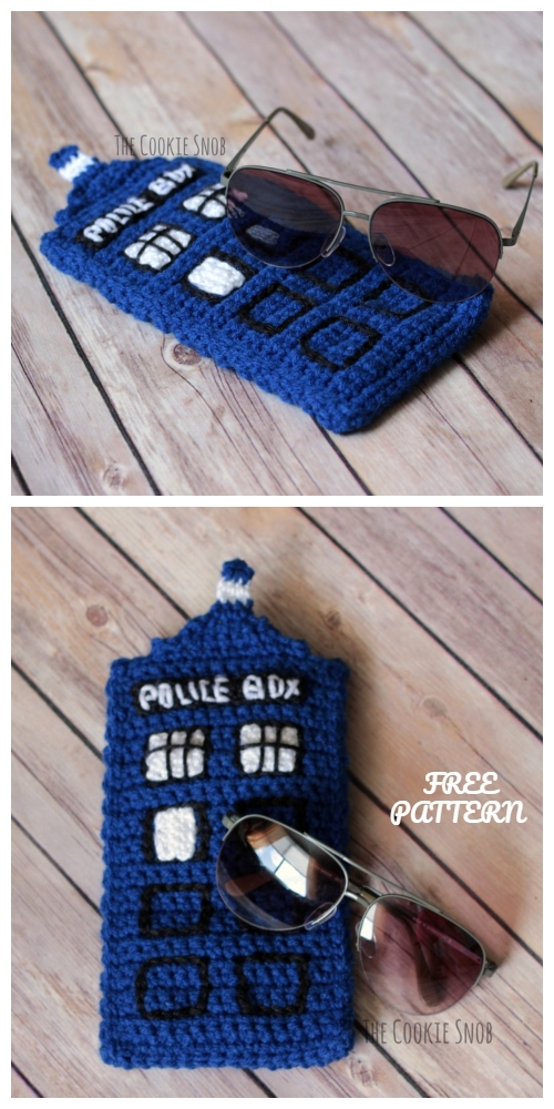 Crochet Police Box Sunglasses Case Free Crochet Patterns
