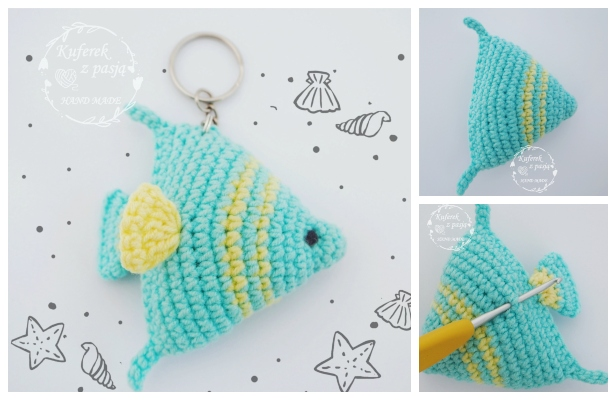 Fish keychain amigurumi Free pattern - Amigu World | 400x616