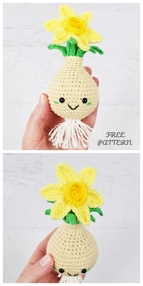 Crochet Daffodil Bulb Doll Amigurumi Free Pattern