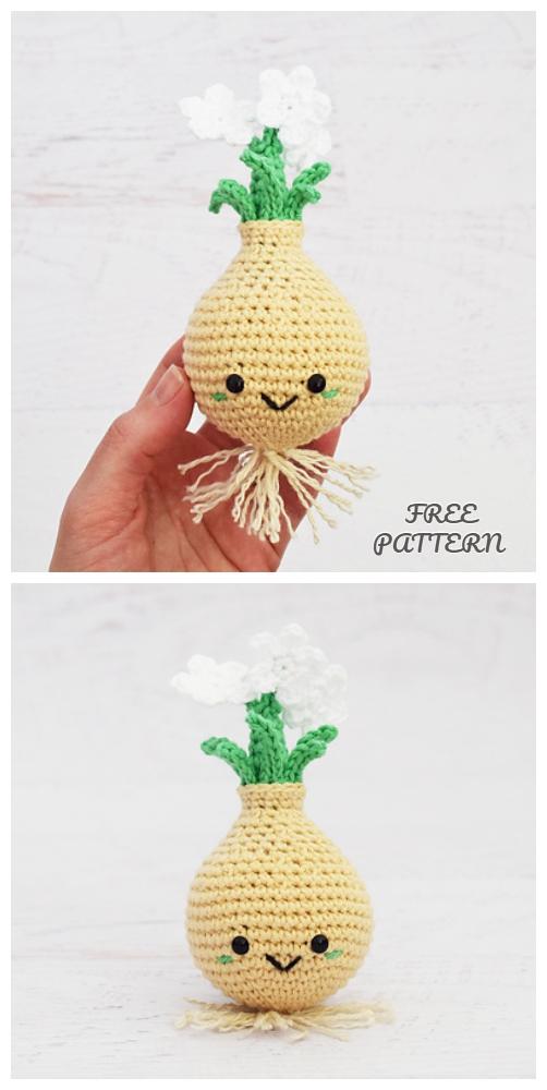 Crochet Paperwhite Bulb Doll Amigurumi Free Pattern
