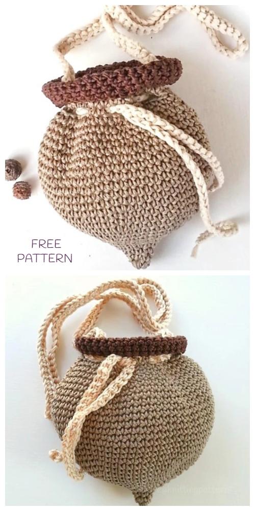 Crochet Acorn Pouch Bag Free Crochet Pattern